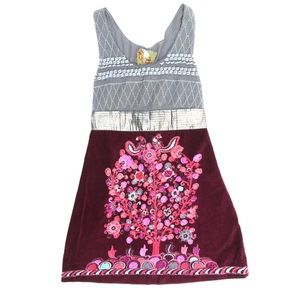 Free People Burgundy Sliver Tree Of Life  Dress
